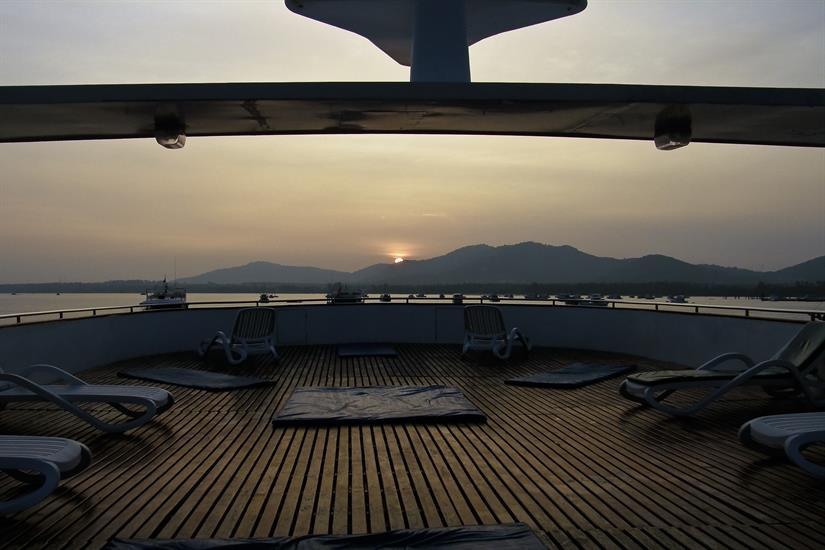 Sundeck at Sunset aboard the Scuba Explorer Dive Liveaboard Thailand