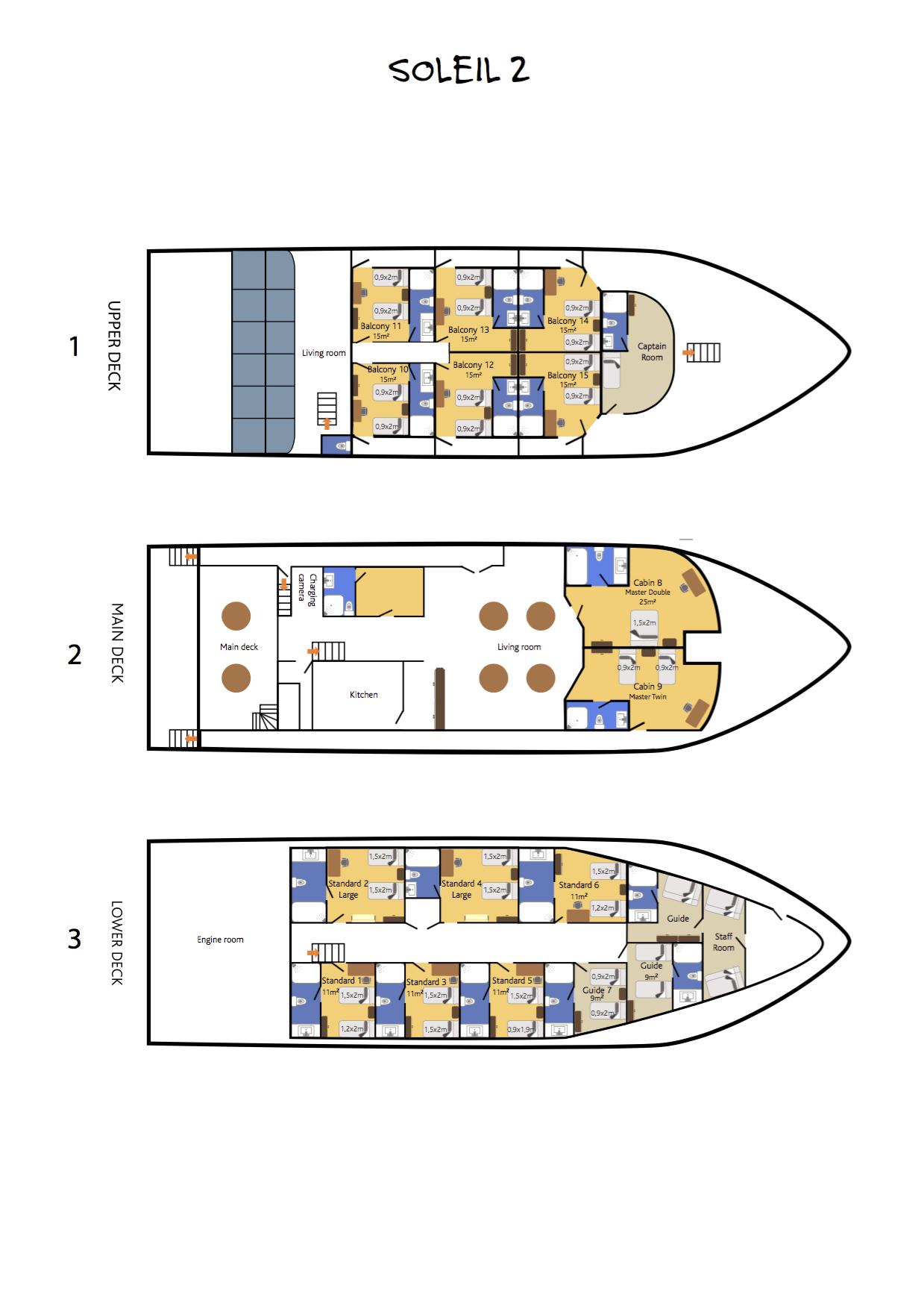 Deck Plan Soleil 2 Liveaboard floorplan
