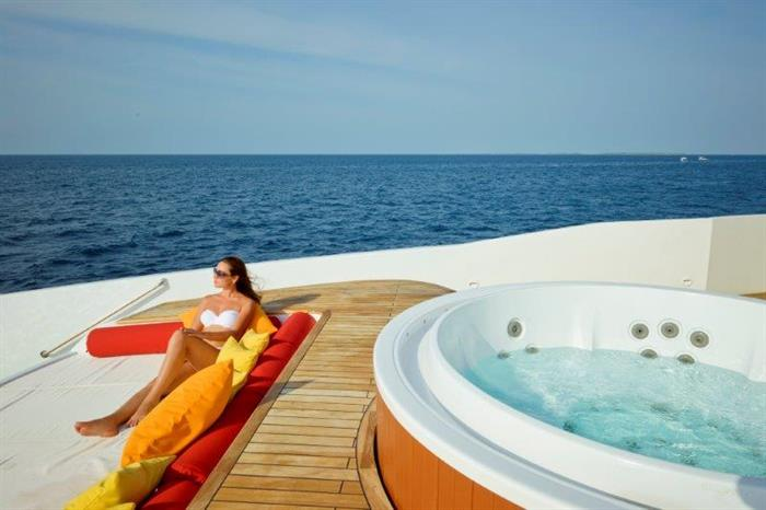 Relaxation aboard the Blue Force One Maldives