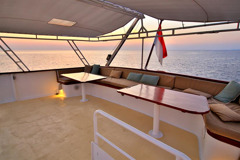 The top aft deck provides space for privacy and relaxation.