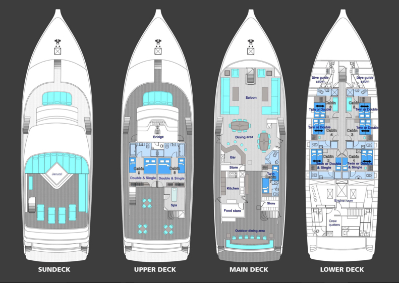 Honors Legacy Liveaboard Deckplan Grundriss