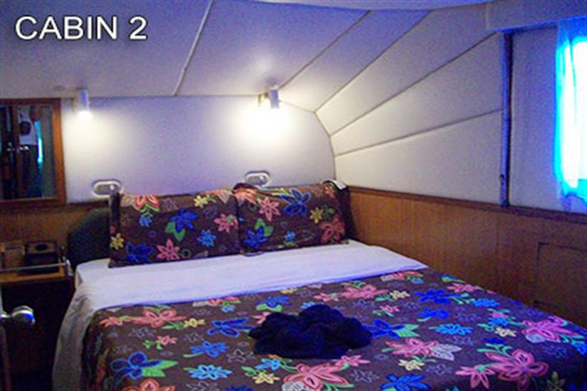 Cabin 2 with a double bed, airconditioning and ensuite on mid-deck