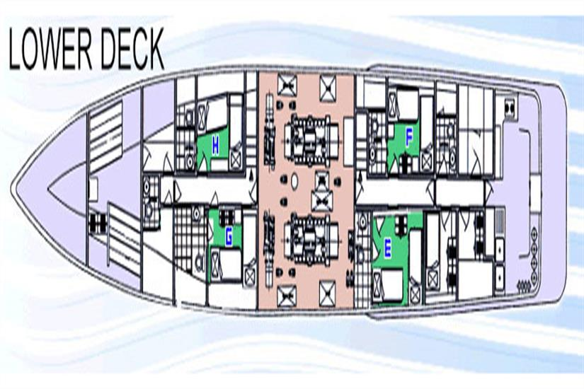 Layout of the lower deck where cabins 5 & 6 are located
