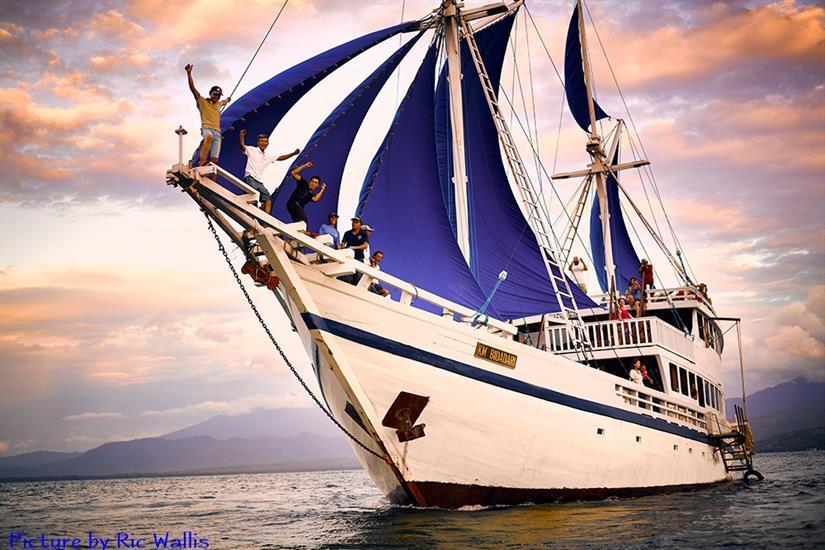 KM Bidadari Liveaboard at full sail