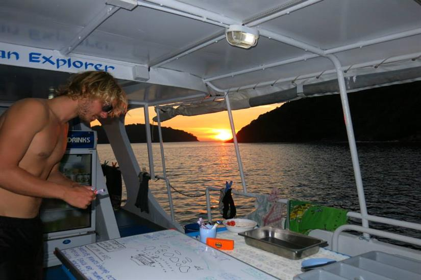 Briefing for the night dive - MV Similan Explorer