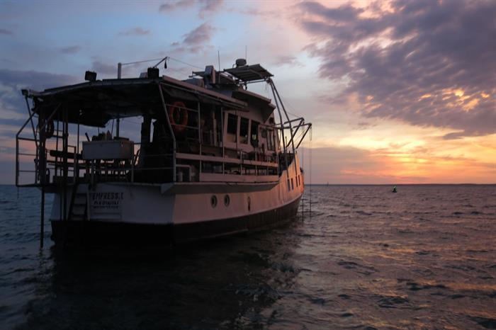 MV Empress II at sunset