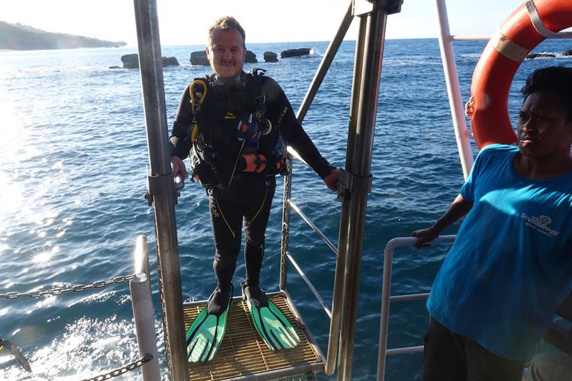 Coming up the dive lift- MV Empress II