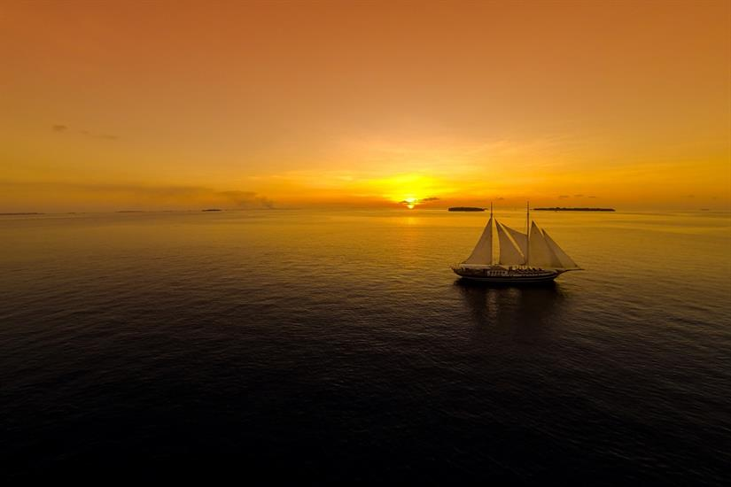 Dream Voyager full sail at sunset