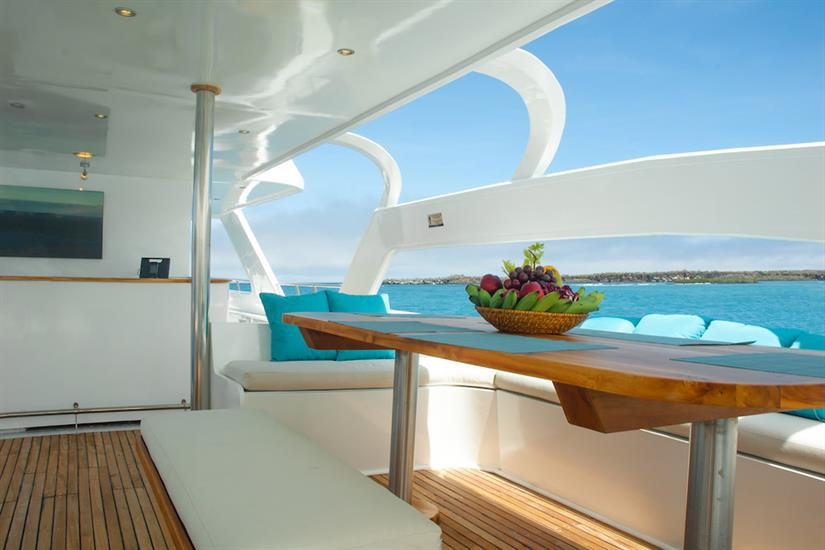 Open air social area - Majestic Galapagos Yacht