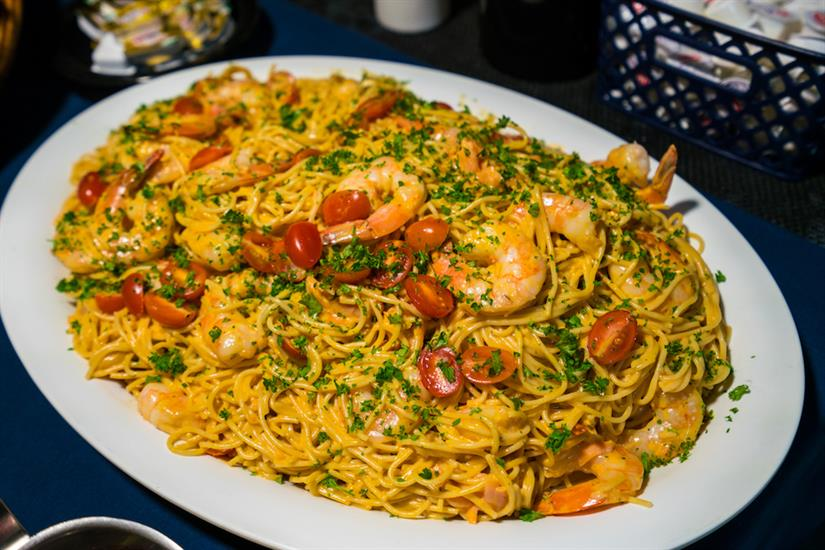 Shrimp & pasta, one of the lunch options