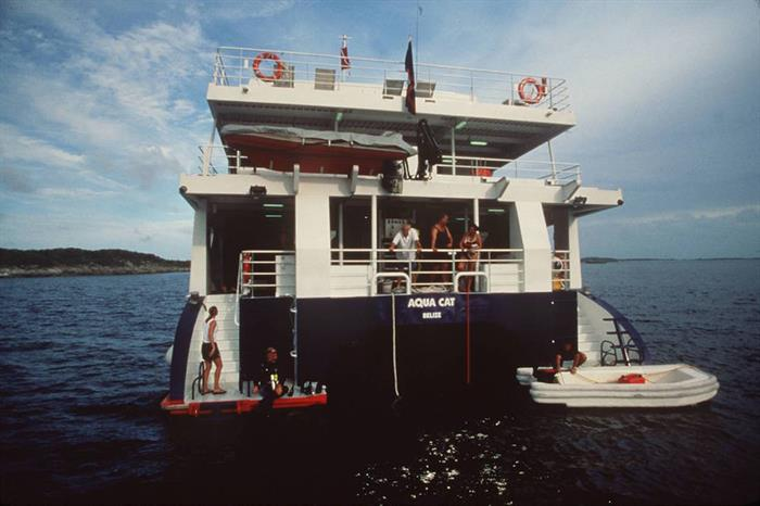 Aqua Cat stern with two dive platforms.