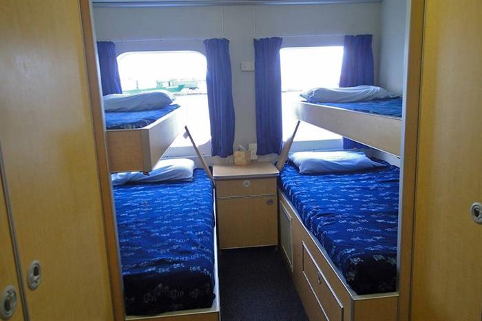 Twin Cabin with optional drop down berths (cabins 1 & 2)