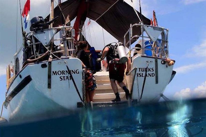 Boarding the Morning Star after a dive