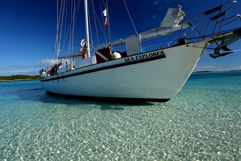 Sea Explorer in the crystal clear waters of the Bahamas