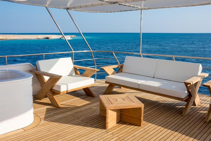 Comfortable sun deck with beautiful views