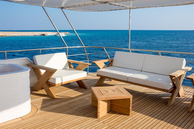 Comfortable sun deck with beautiful views