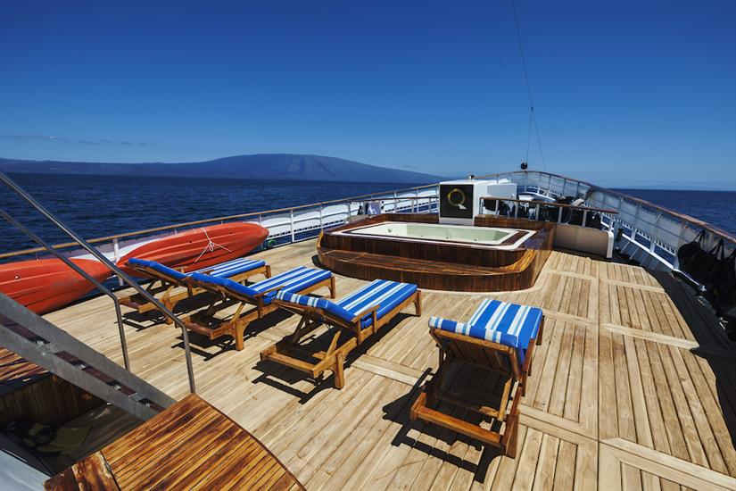 Sun deck with loungers - MV Evolution Galapagos
