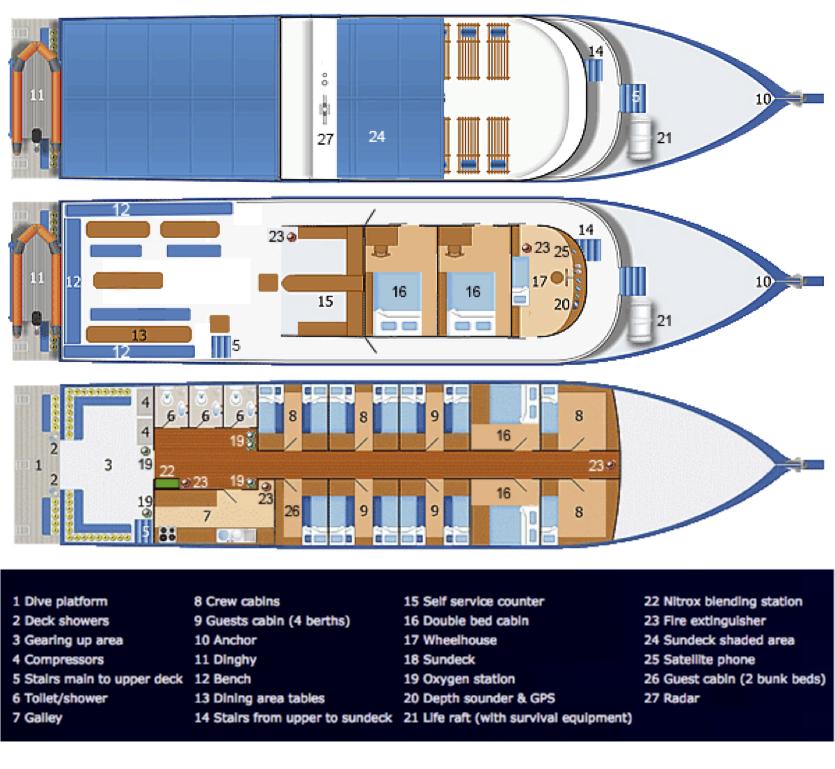 Dolphin Queen Deck Plan floorplan