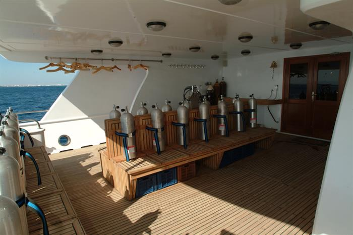 Dive deck onboard MY Blue Seas