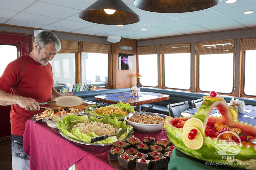 Lunch aboard the Belize Aggressor IV