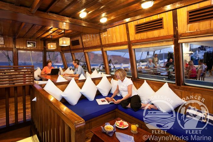 Indoor Salon aboard the Indo Aggressor Liveaboard