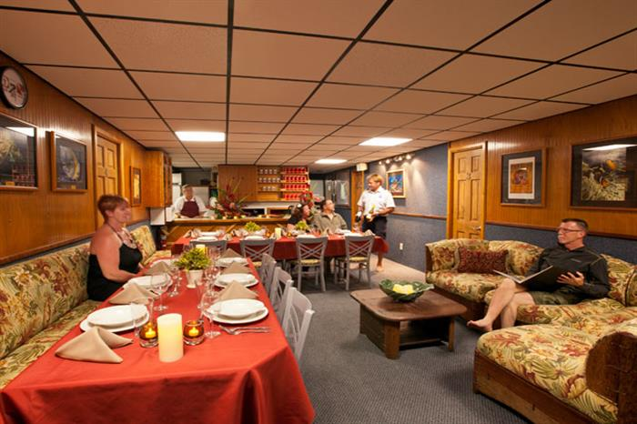 Dining and Saloon aboard Kona Aggressor II Liveaboard