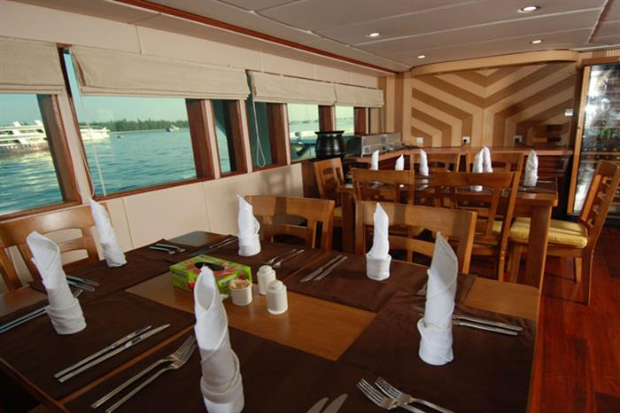 Indoor Dining Area - Leo Liveaboard Maldives