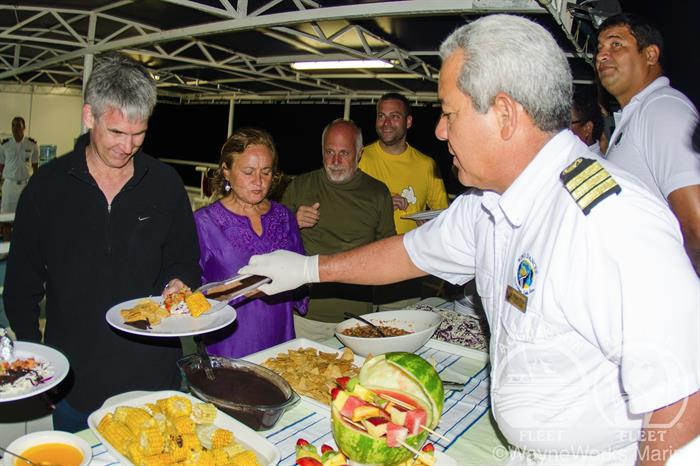 Dinner aboard the Okeanos Aggressor II