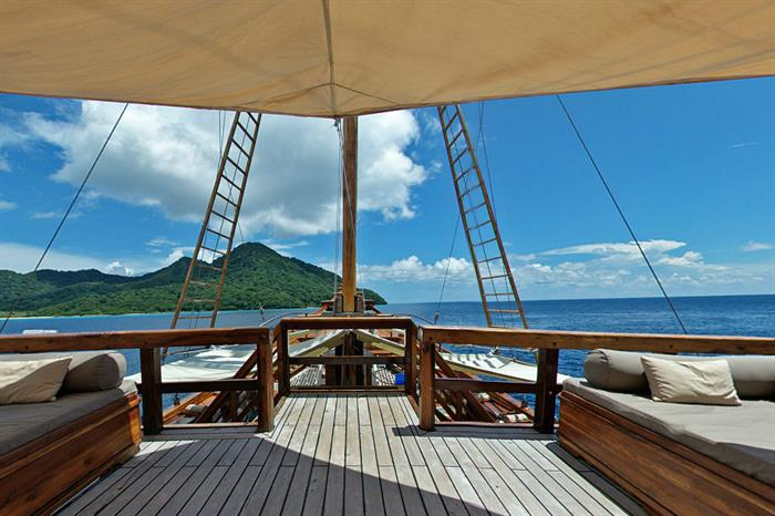 Relaxing sun deck aboard Damai II