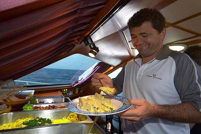 Lunch time aboard the Mermaid II Liveaboard