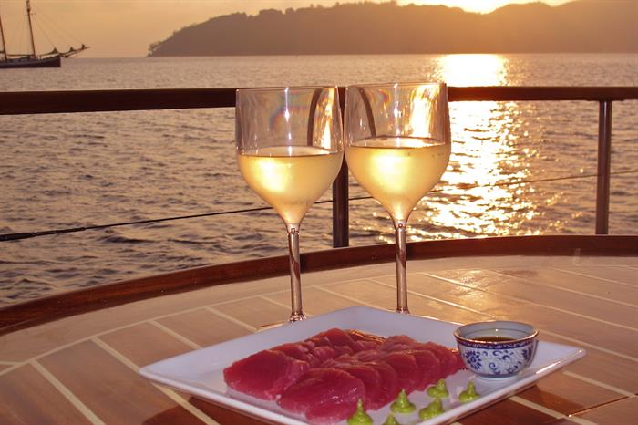Enjoy drinks and an amazing view - Galatea Liveaboard