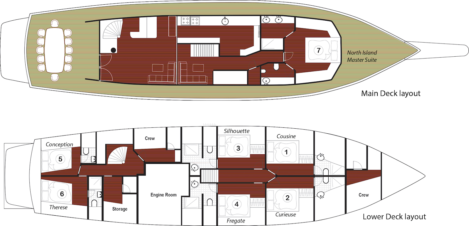 Galatea Liveaboard Deck plan Grundriss