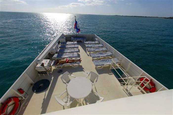 Sun Deck relaxation area Turks and Caicos Explorer II