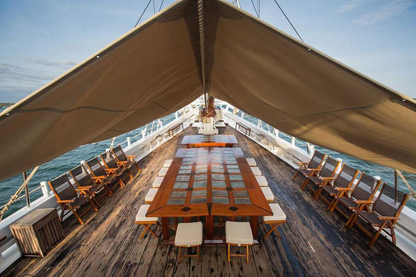 Enjoy outdoor dining onboard Katharina Liveaboard