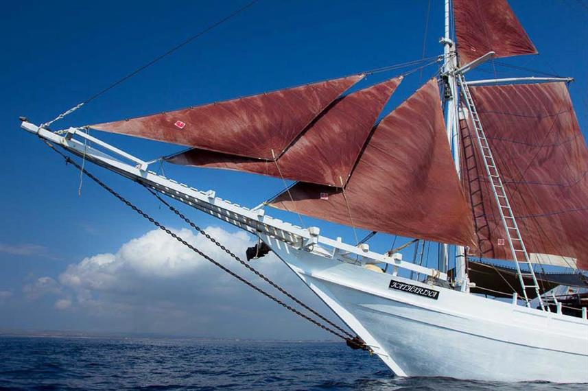 Katharina Liveaboard at sail in Indonesia