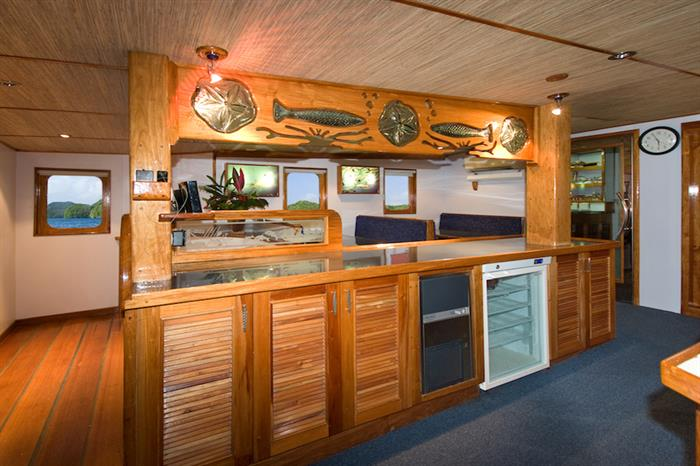 Dining area onboard Ocean Hunter 3