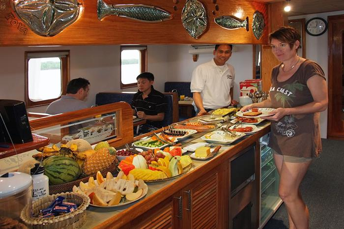 A wide selection of food served on Ocean Hunter 3