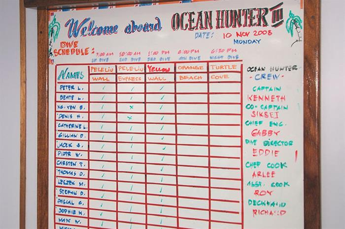 Dive schedule - Ocean Hunter 3