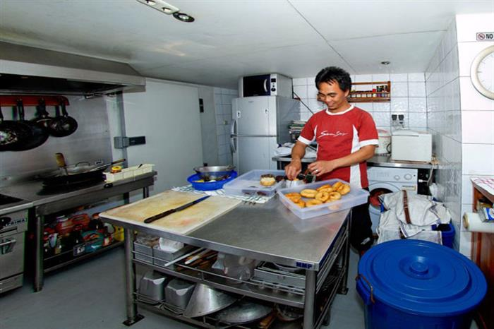 Freshly prepared food in the galley - Seven Seas Raja Ampat