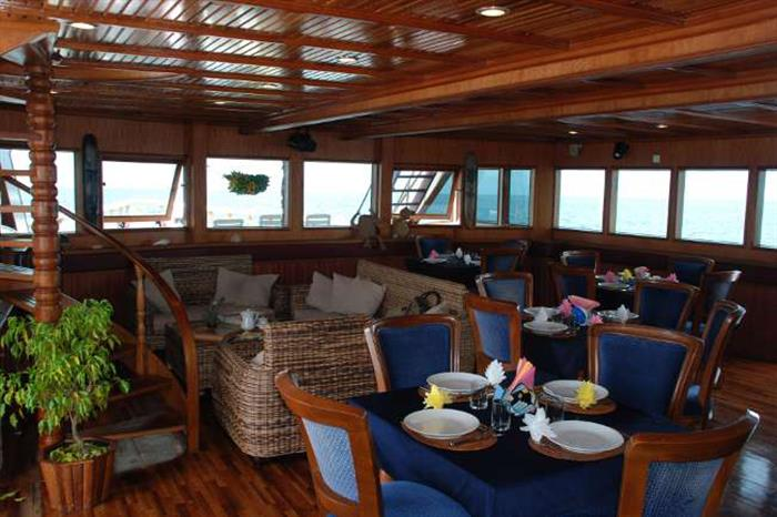 Dining area onboard Conte Max