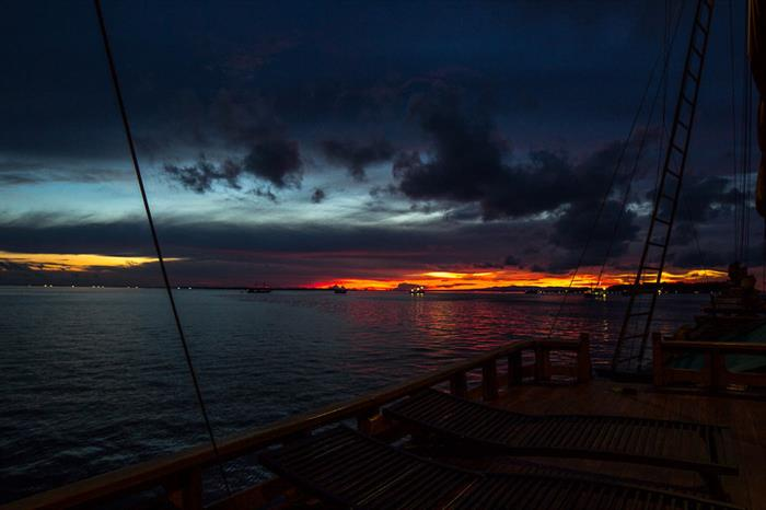 Enjoy amazing sunset views cruising in Indonesia