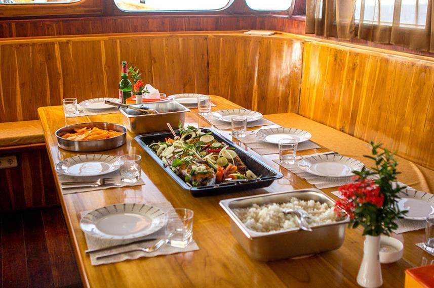 Dining onboard Euphoria Liveaboard