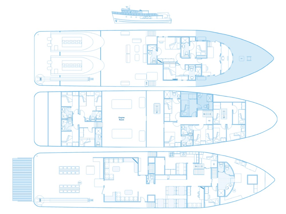 Sea Hunter Liveaboard Deck Plandisposizione del ponte