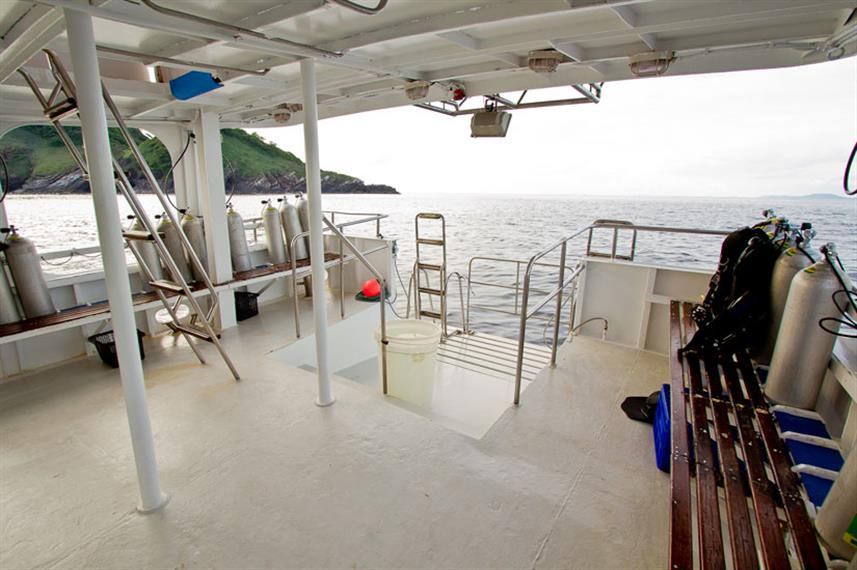 Dive deck area onboard Giamani Liveaboard
