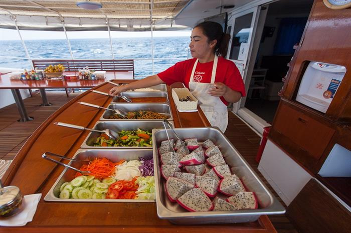 Plentiful and diverse food onboard Giamani Liveaboard