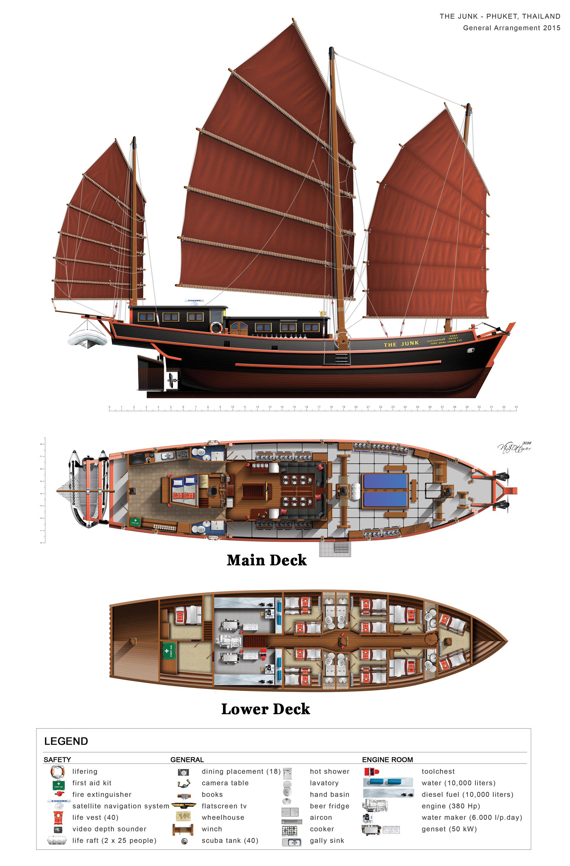Deck Plan The Junk Liveaboard Grundriss