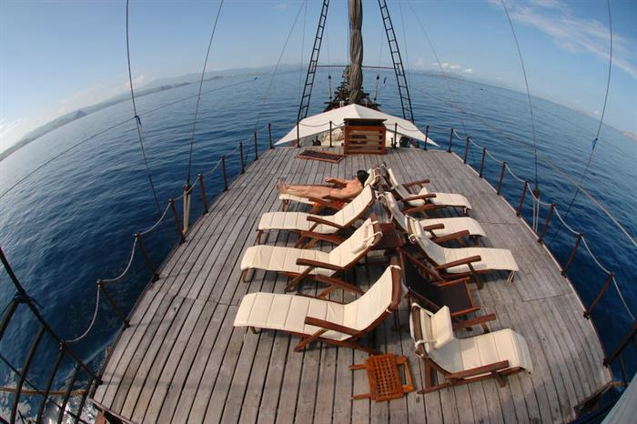 Spacious sundeck aboard the Ondina Indonesia