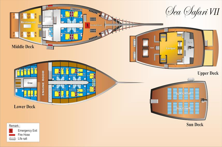 Sea Safari VII Indonesia Deck Planplattegrond