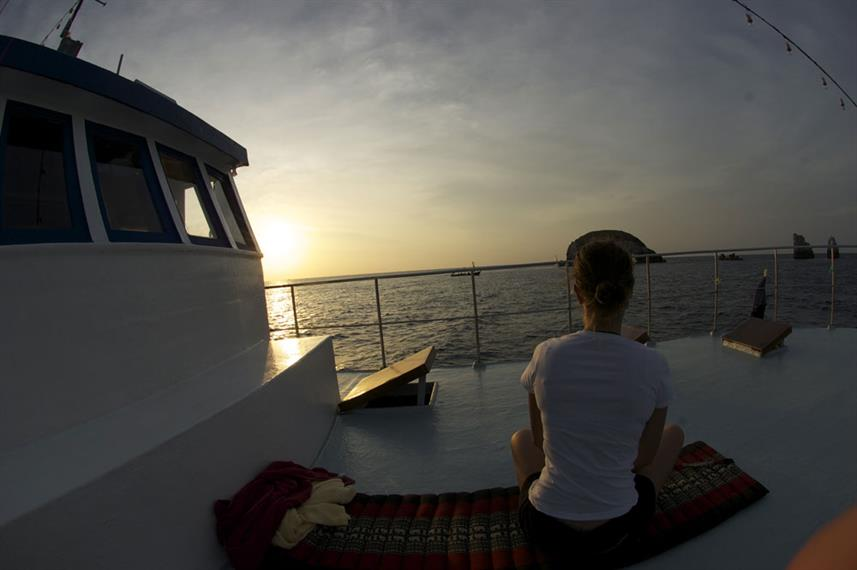 Yoga on the Sundeck at Sunset - MV Thai Sea