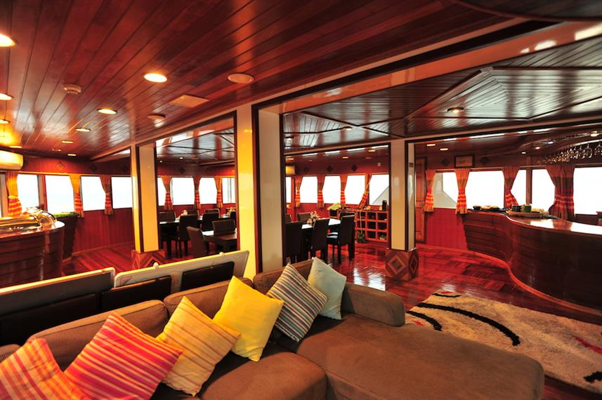 Dining area onboard Fun Azul